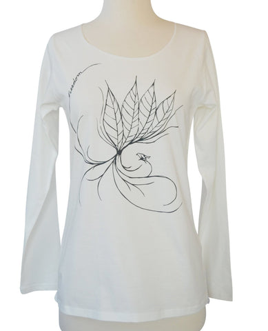 Women's White Leaf T-Shirt