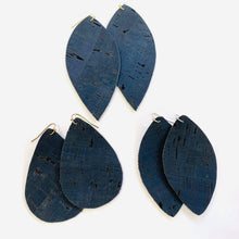 Load image into Gallery viewer, Dark Navy Eco Friendly Cork Earrings image 2