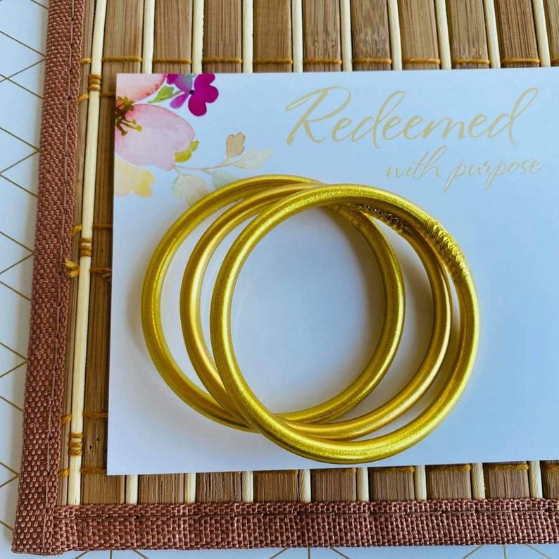 Matte Gold Dust Thai Bangles image 1