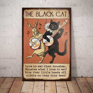 Black Cat Funny Song Vintage Canvas