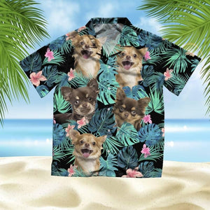 CHIHUAHUA LONGHAIR SUMMER LEAVES - HAWAIIAN SHIRT