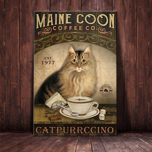 Maine Coon Cat Coffee Company Canvas