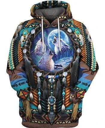 Native Amerian Wolf Dreamcatcher 3D Print Hoodie
