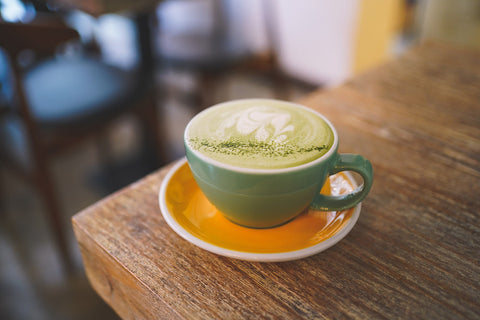 Matcha latte with adaptogens by Respect des Fonds, or RDF