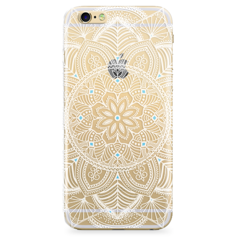 Funda Case Transparente l T6-45 l Mandala (Blanco y Azul) Jelly Case - Case Love - 1