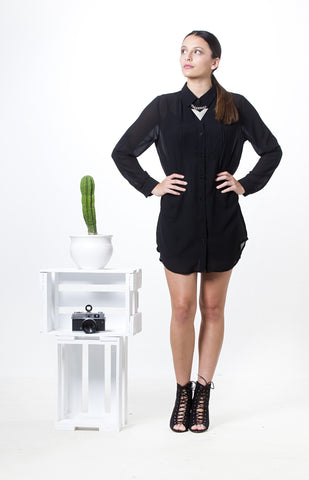 Simplicity Shirt Dress Black