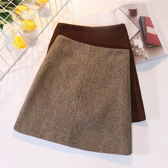 Fashion Wool Skirt Women Autumn Winter Thick Warm A-Line High waist Mini Skirts Women's Woolen Boots Short Skirts Faldas F196