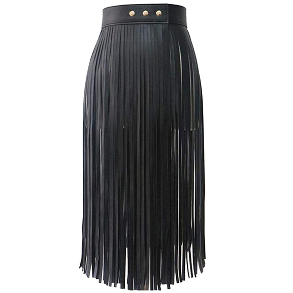 Women's Tassels Leather Skirt Summer Fashion Adjusted PU Long Fringe Skirt Belts Black
