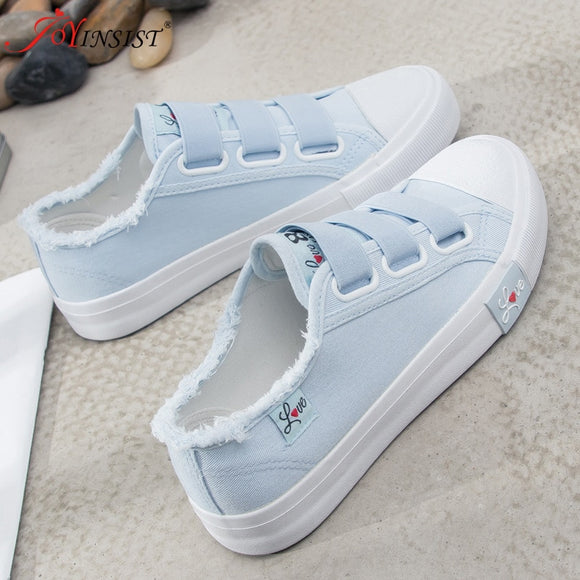 Causal Shoes Woman 2019 Solid Hook&Loop Women Sneakers Breathable Canvas Shoes Sneakers Women's  Shoes Fashion High  Quality