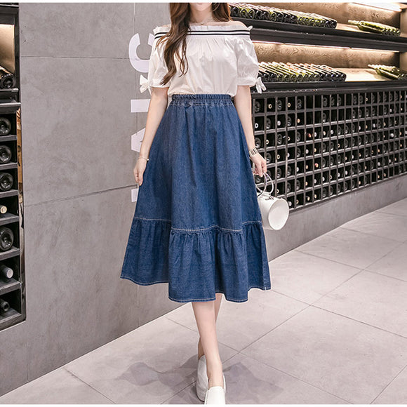 Women's Jeans Ruffled High Waist Midi Skirt Denim Blue A-line Patchwork Ladies Solid Skirts 2020 New Summer Autumn Clothes