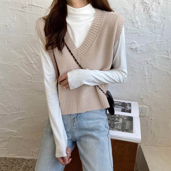 Women's Fashion Solid Color V Neck Knit Vest Loose Casual Sleeveless Sweater Outwear