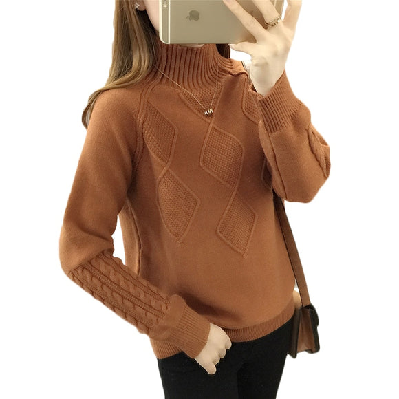 Autumn Turtleneck Sweater Winter Warm Tops Women's Long Sleeve Knitted Sweaters Solid Ladies Casual Loose Pullovers And Sweaters