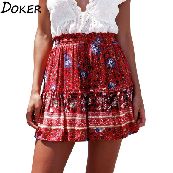 Women's Mini Skirts 2020 New Floral High Waist Frills Skirt For Women Young Girl Summer Fashion Boho Beach Sexy Short Skirt