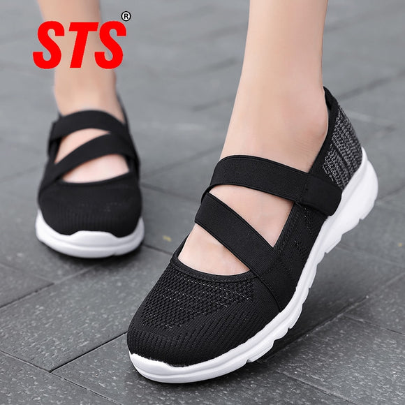 STS Women's Casual Shoes Women Flats Sneaker Shallow Casual Shoes Ladies Mesh Breathable Plus Size Ultra Light Velcro Trainers