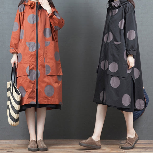 Loose Plus Size Trench Coat Female Spring Autumn Printing Mid-Length Hooded Dot Zipper Design Skirt Type Windbreaker Women Z76