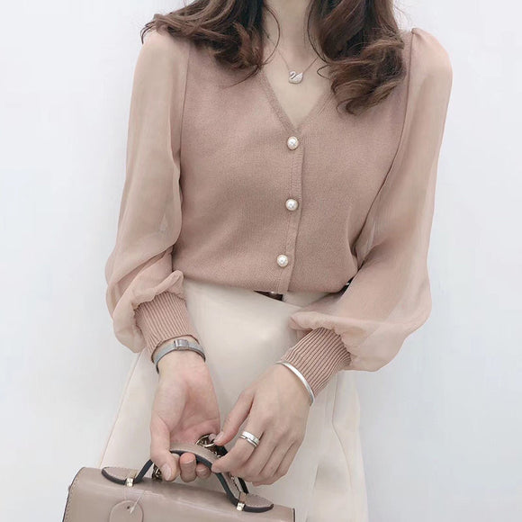 Spring and Summer Short Sweater Top Women's Western Style Non-Mainstream Lace Chiffon Knit Low Waist Jersey Long Sleeve Fashion