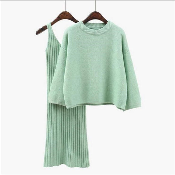 Loose Sweater Set Women's Fashion Two-piece Skirt 2020 Spring And Autumn Solid Color Student Pullover