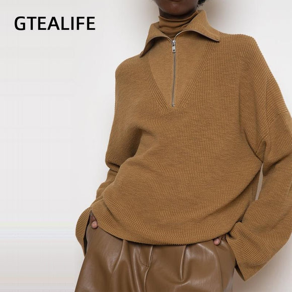 Gtealife Women's Sweaters Winter Autumn Long Sleeve Turn-down Collar Loose Oversized Sweaters Zipper Pullovers Jumpers Knitwear