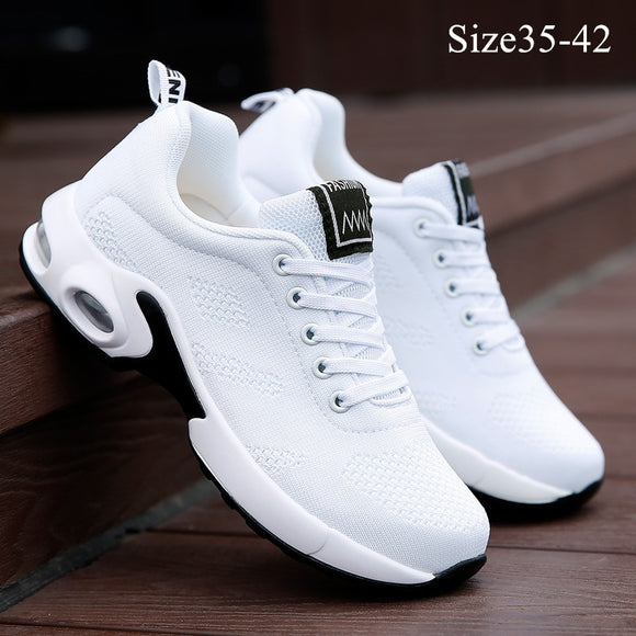 Women's Fashion Air Cushion Sports Running Flat Soft Bottom Sneaker Mesh Breathable Casual Shoes