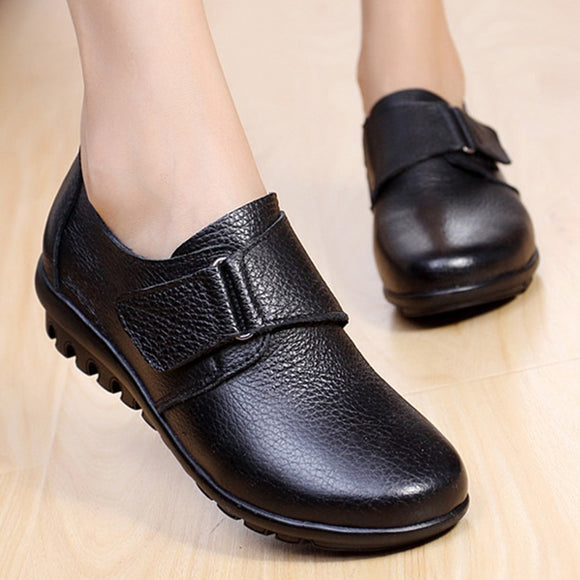 Women Genuine Leather Moccasins Mom Hook and Loop Wedge Shoes Female Plus Size 42/43 Flat Loafers Women's Non-slip Shoes Autumn