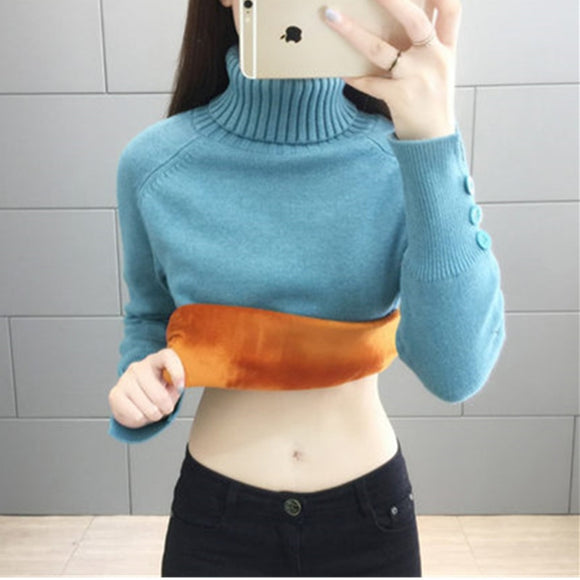 Thick Plus Velvet Sweater Women's 2020 Autumn Winter New high-necked Loose Fashion Base knitwear Sweater Tops Female Wear Tide