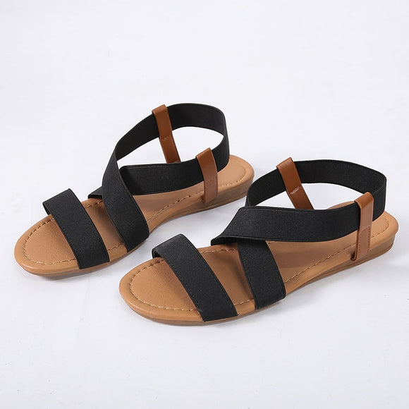 2020 Women Low Heel Anti Skidding Beach women's shoes woman Cross Strap Sandals Peep-toe Sandals