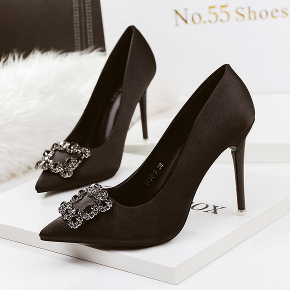 Women's shoes PUMPS point shallow mouth 10.5CM high heels nightclub sexy stiletto buckle diamond rhinestone wedding shoes