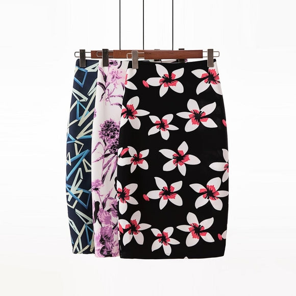 2020 Spring Office Women's Skirts Digital Printed Midi Pencil Skirt High Waist Casual Chic Floral Sweet Faldas Belt