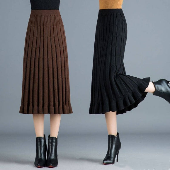 Knitted Pleated Skirt Women's Skirt 2020 Autumn and Winter High Waist Wool Skirt Woman Skirts Mujer Faldas Saias Mulher