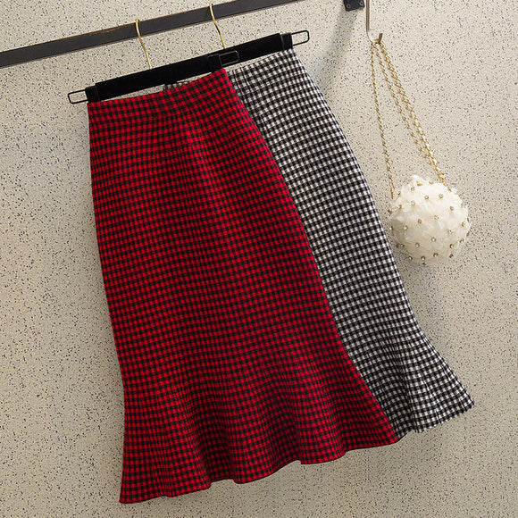 Knitted fishtail skirt half skirt autumn winter women's high waist medium length style thin Plaid A-line ruffled hip skirt