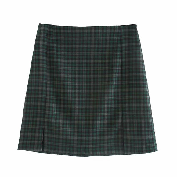 Women's New Dark Green Color Matching High Waist Skirt Was Thin Bag Hip Skirt Girl Wild  Skirt   BM6064