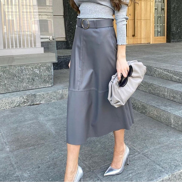Autumn Faux PU Leather Women's Skirts With Belt Black Patchwork High Waist Female Long Skirt 2021 Trend A-line Ladies Bottoms