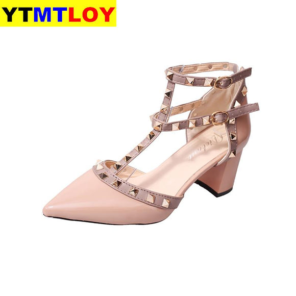 2020 summer new fashion sexy high heel women's shoes rivet crude heel high heel sequin hollow shallow mouth sandals women