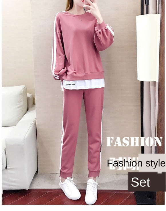Fashion Stitching Women's Korean Style Suit Loose Sweater And Pants Two-piece Sets 2Pcs Women Tracksuit