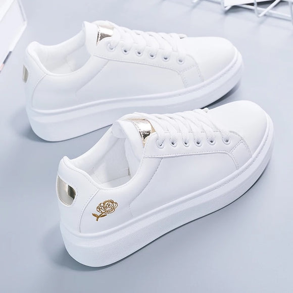 Tenis Feminino Lace-up White Shoes Women's PU Leather Solid Color Women's Shoes Casual Women's Shoes Sports Shoes (clearance)