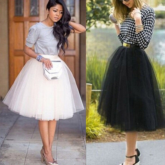 Fashion Sweet Women's Multi-Layers Tulle Skirt Long Shirts Princess Ballet Tutu Dance Prom Party Skirts Black White S-XL