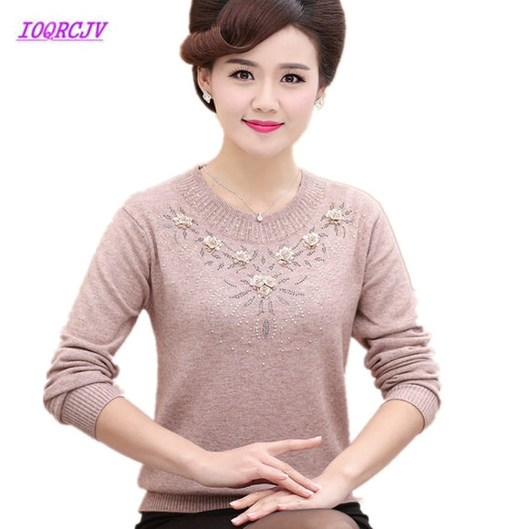 Middle-aged Women's Winter Sweaters Pullovers Plus Size 4XL Thickened Warm Bottoming O-neck Wool Sweater Mother Dress Tops W105