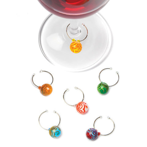 GLASS SWIRLY BALL WINE CHARMS