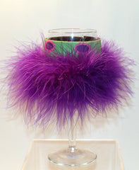 Wine Glass Huggie - Neon Green W/ Circle / Purple Boa