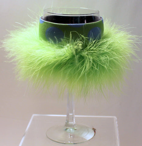 Wine Glass Huggie - Neon Green Blue Dots Green Boa