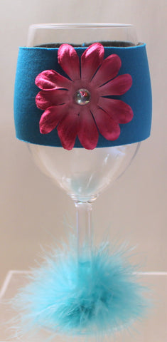 Flower Wine Glass Huggie - Neon Blue