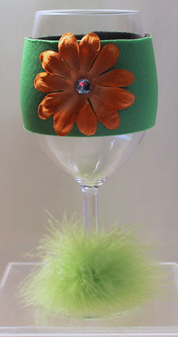 Flower Wine Glass Huggie - Neon Green