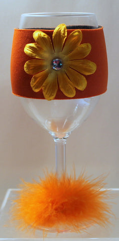 Flower Wine Glass Huggie - Neon Orange