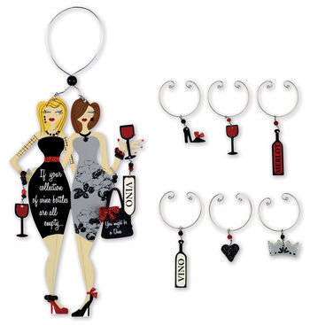 Party Divas Wine Bottle Charm & Stem set