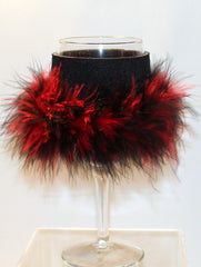 Wine Glass Huggie - Black W/ Black & Red Boa