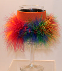 Wine Glass Huggie - Orange W/Tie-dye