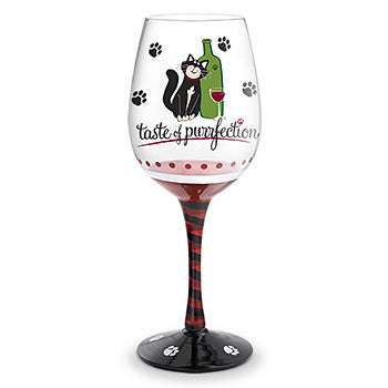 Taste of Purrfection - HandPainted - Wine Glass