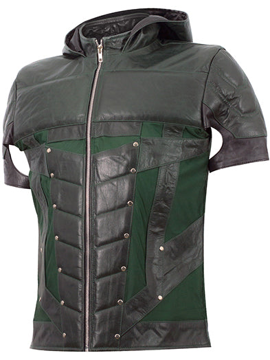 Front image of green arrow jacket from Leather Jacket Master