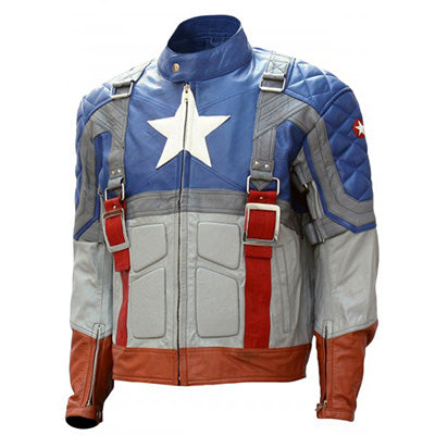 Captain America Costume Leather Motorcycle Jacket