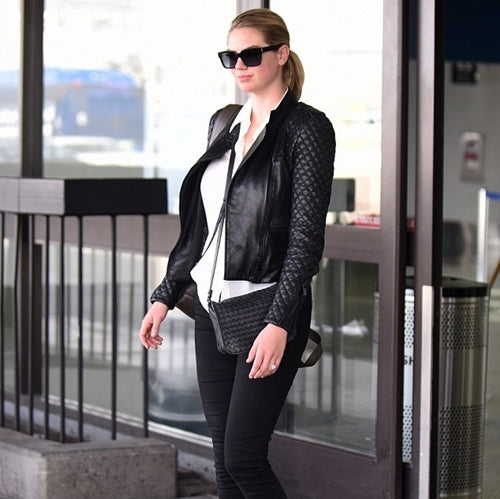 Kate Upton in black leather jacket